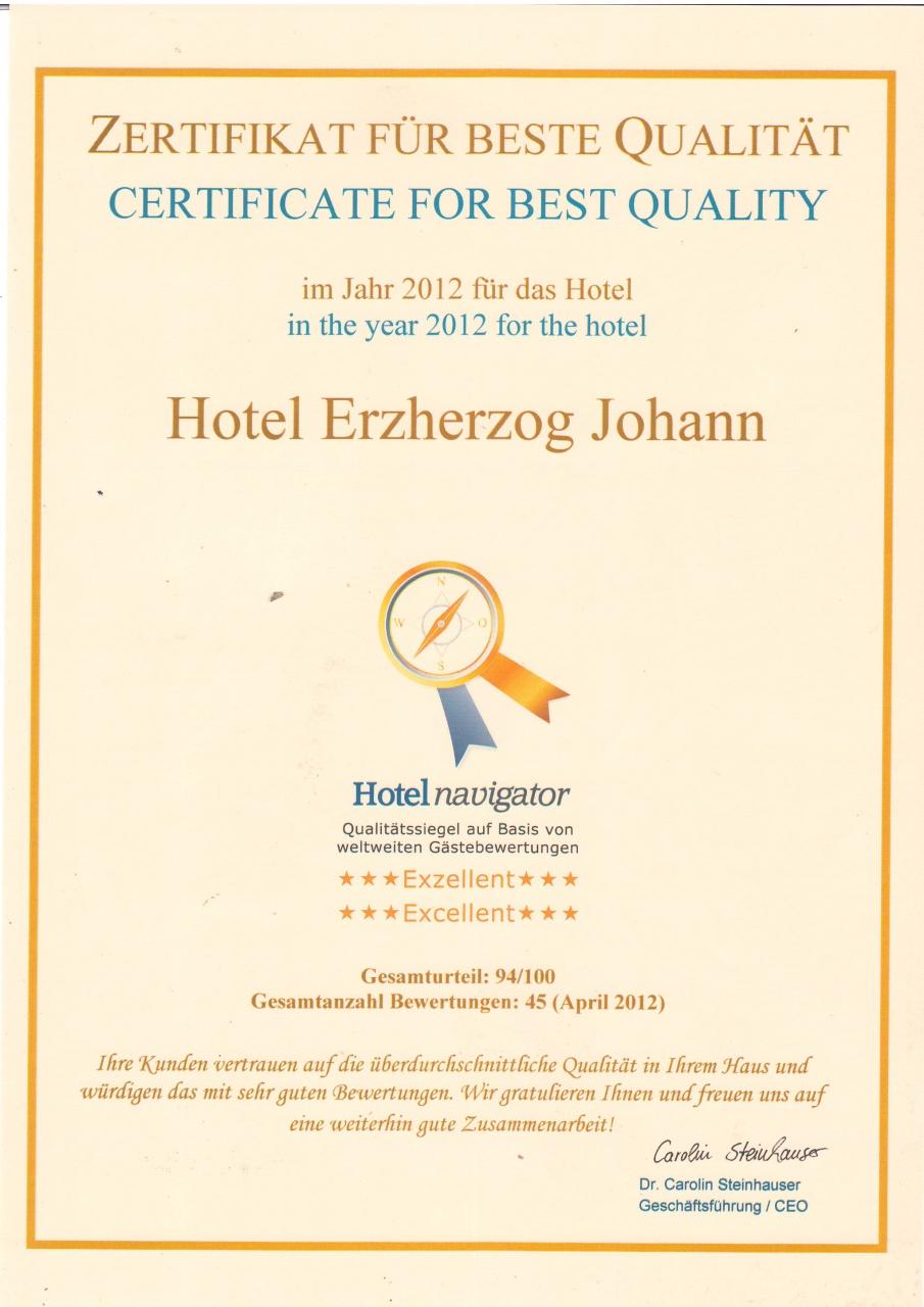 """Bestnote """"Exzellent"""" für unser Hotel durch das Qualitätssiegel Hotelnavigator"""